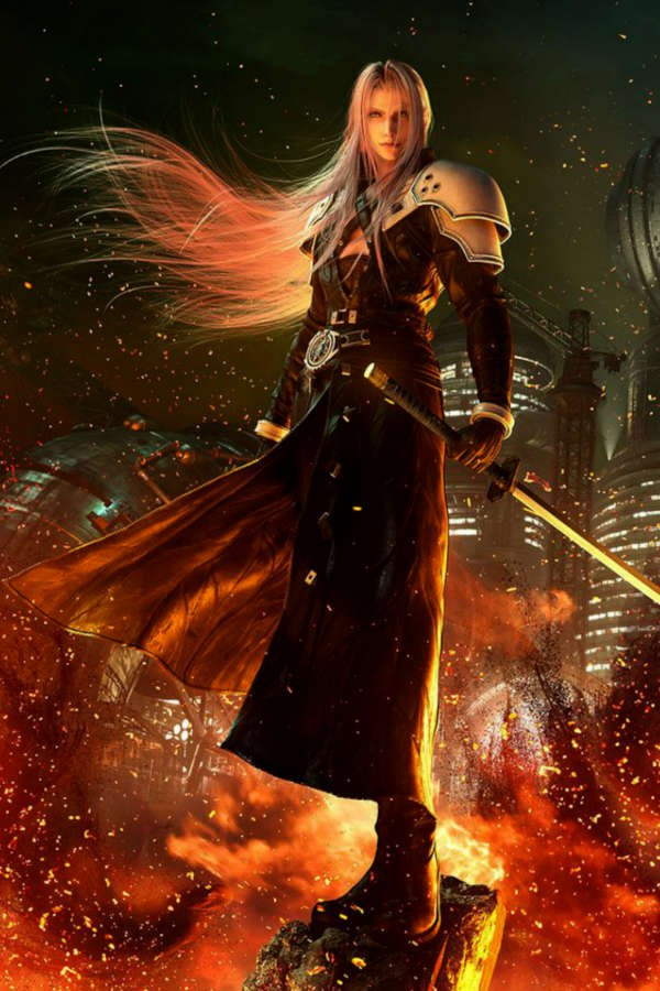 Sephiroth, the Final Fantasy VII antagonist, holding a sword